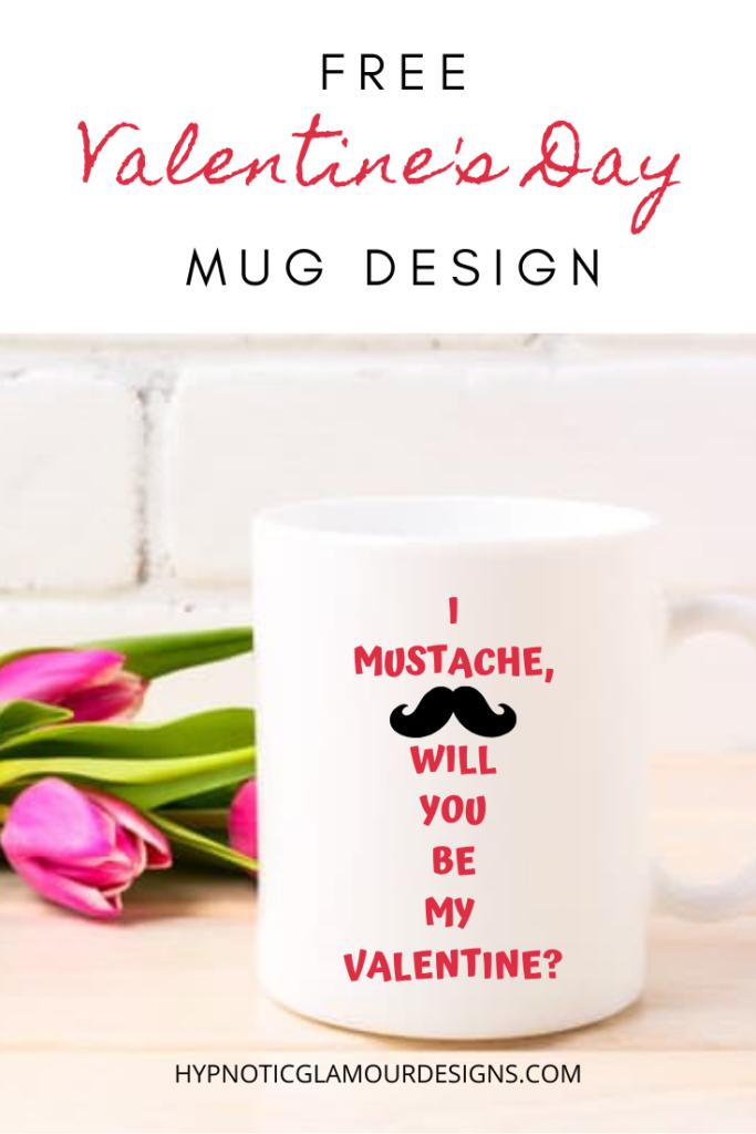 valentine's day mustache design mug