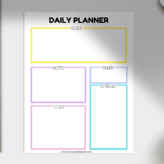 one page daily planner